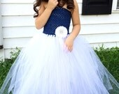 Navy Blue and White Flower Girl Wedding Tutu Dress