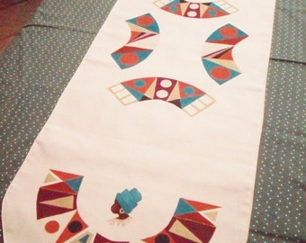 African table runner,  hand painted geometric design,  5 foot table cloth
