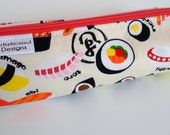 Pencil Case, Pencil Pouch, School Supply – Sushi Japanese Fabric  - Toiletry & Cosmetics Bag