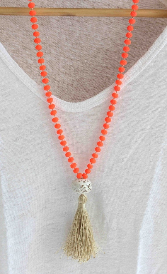 Neon Orange Necklace. Knot and Tassel Necklace. Summer Neon