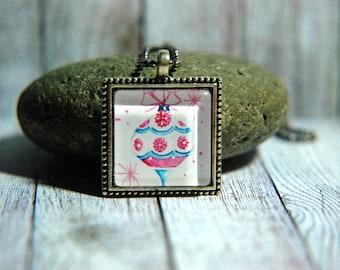 "1"" Square  Glass Pendant Necklace or Key Chain   - Vintage Tree Decoration - Retrochain"
