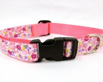 Medium Spring Flowers Dog Collar