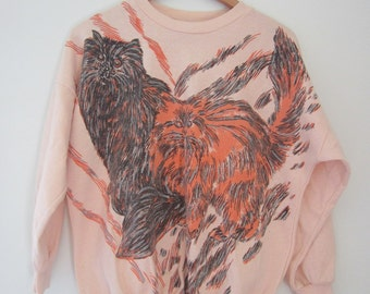 Vintage Peach and Coral Sparkle Kitten Batwing Sweatshirt S M L 80's 90's