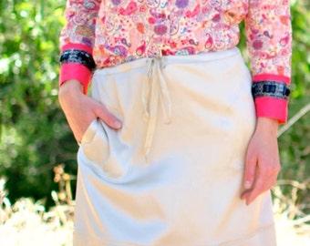 Silk Skirt, Short Skirt, Green Skirt, Skirt with Pockets, Ivory Skirt, Drawstring Skirt, Ultra Lux Double-Face Silk Skirt w/Banded Hem,