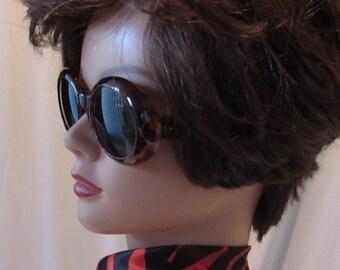 Vintage 60's LANVAN SUNGLASSES Designer Tortoise shell Glass lenses