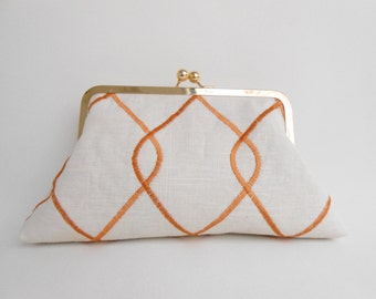 Papaya and Cream Big Kiss Clutch