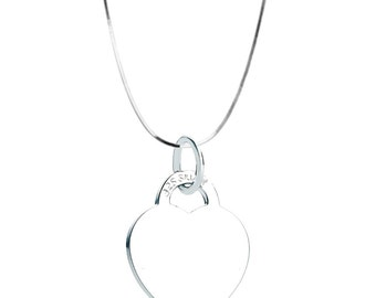 Large heart pendant with bright filed snake chain in pure sterling silver, 19mm, Hallmarked 925, British Gift UK for Her