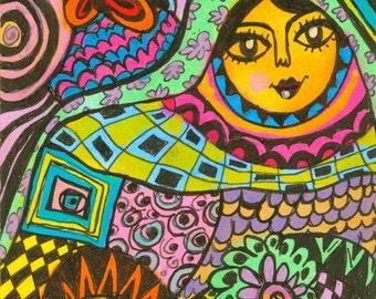 Woman Print, Whimsical Girl Art, Girls Room Decor, Whimsical Abstract Art, Art For Girls, Girl Print, Spring Dream by Paula DiLeo_21614
