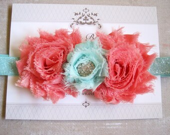Baby Headbands, Aqua and Coral Headband, Baby Headbands, Baby Girl Headband, Baby Headband, Baby Girl Headbands, Infant Headbands