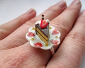 Mini chocolate and white frosted cake on a plate ring