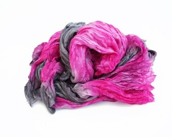 pink silk scarf - Pink Muse  - pink, grey silk scarf.