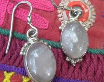 Grey-Lilac Quartz & Sterling Silver Ethnic Earrings. Gemstone Ethnic Jewelry