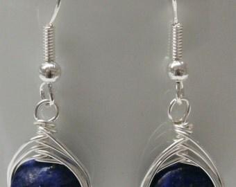 Lapis Disk Herringbone Wrapped Earrings(E82)