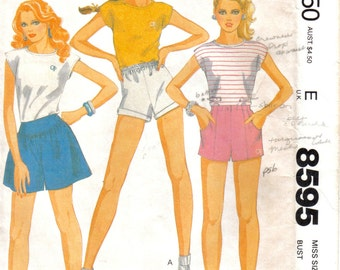 Misses Shorts and Top with Ocean Pacific Embroidery Transfer McCall's 8595 Size 10 Bust 32.5