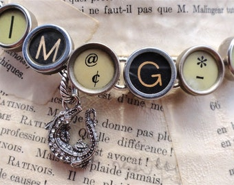 IMAGINE Necklace Vintage Typewriter Keys Sterling Charms CUSTOM LISTING