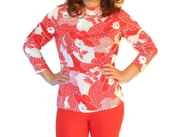 60s red white top. Vintage twee top. Mod. Polka dot. Size Medium. Lady head print. Mad Men fashion. Nylon top. Glamour lady print.