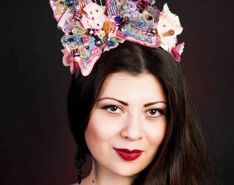 Butterfly Headpiece with Swarovski® crystals, Crystal Wedding Accessories, Flower Lace Fascinator