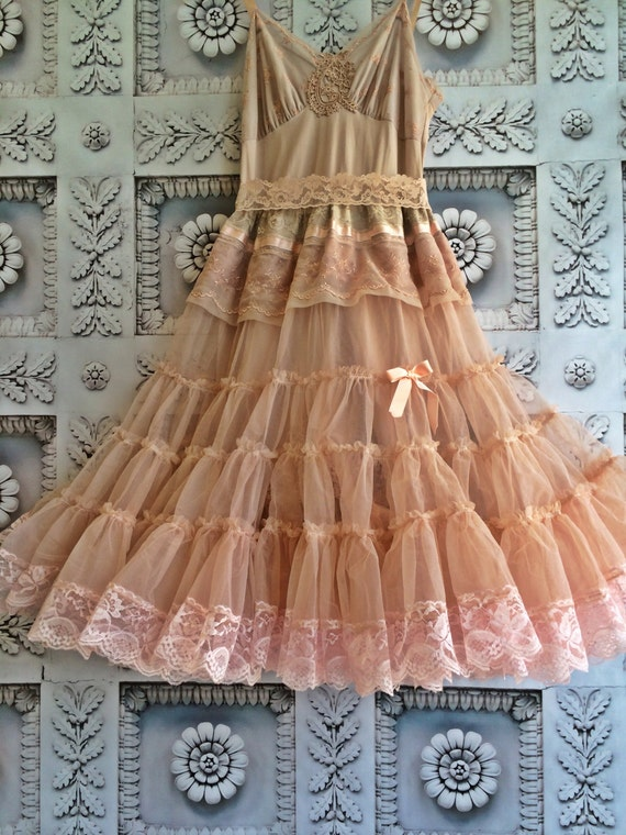 bisque nude & blush chiffon lace boho petticoat tea length prom dress  by Mermaid Miss K