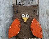 Harvest Owl, Harvest Decor, Owl Decor, Hanging Owl, Whimsical Owl, Owl Door Hanger, Teacher Gift, Fall Decor, ORANGE Owl
