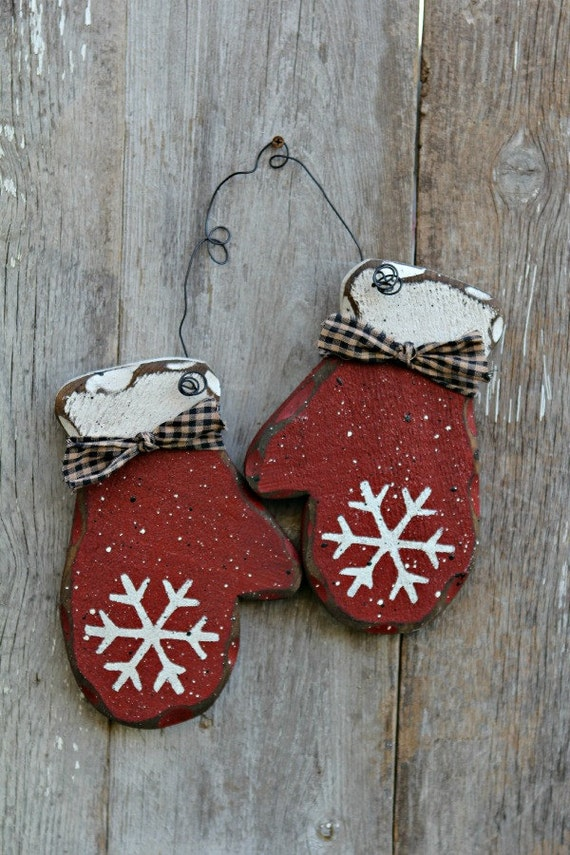 Christmas Holiday Decor, Rustic Winter Decor, Red Mittens