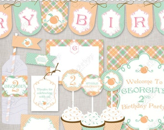 Little Peach Party Printable Kit - Print A Party from the PDF files : just print , cut , and decorate