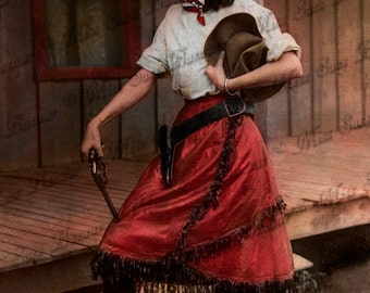 Instant Download or Print - Cowgirl with hand gun (C6)
