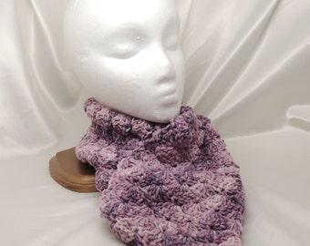 Purple Shell Stitch Wool Scarf
