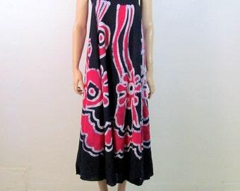 Vintage Hippie Skirt Wrap Skirt 90's Skirt Batik Skirt Hippie Dress Wrap Dress Boho Dress Beach Dress Tie Dye Rayon Small Medium Large G1