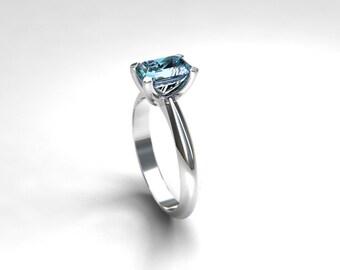 Emerald cut Aquamarine engagement ring, engagement ring, solitaire, aquamarine wedding, vintage, blue engagement, light blue, single stone