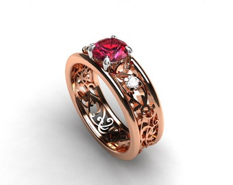 Rose and white gold filigree ring with pink tourmaline, diamond ring, rose gold engagement ring, tourmaline wedding, diamond, two tone