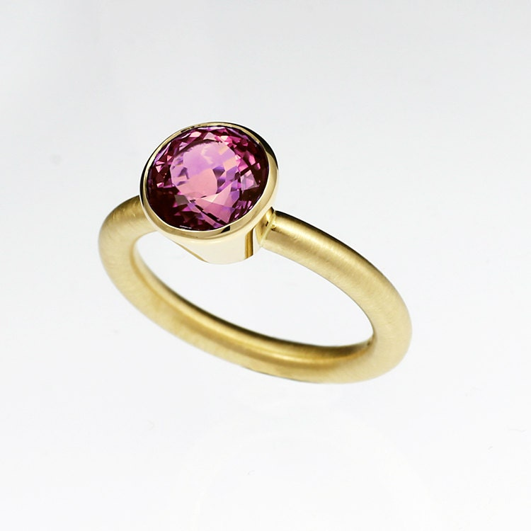 pink tourmaline engagement ring yellow gold by