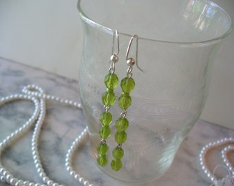 Long Dangle Earrings, Frosted Olive Earrings, Matte Olive Green Bead, Weddings, Sterling Silver Jewelry, Womens Jewelry, Silver Earrings
