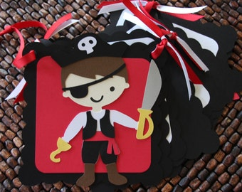 Pirate Theme Birthday Party Name Banner, Pirate Birthday Name and Age Banner, Pirate Happy Birthday Banner