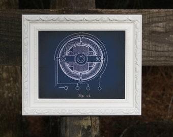 "Tesla Invention Blueprint 8x10"" Poster - Design 2"