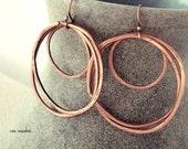 RESERVED FOR F. copper hoop earrings, hammered copper hoops, triple hoop earrings, boho earrings, bronze hoop earrings, tribal jewelry
