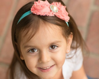 Coral and Turquoise Flower Headband. Baby Headband. Girl Headband. Infant Headband. Photo Prop.