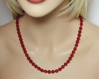 Red Necklace Beaded Glass Rounds and Seed Beads