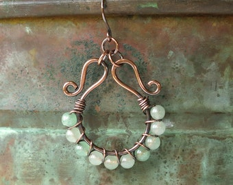 Mint hoop earrings -  Pale seafoam green gemstone beads, copper wire wrapped