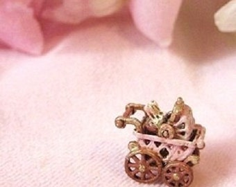 Tiny Mechanical Bunny Rabbits in Pink Buggy Pram- antique style - Jill Dianne - Dollhouse Miniature Toy