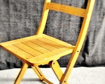 Vintage Wood Folding Slat Chair, Furniture