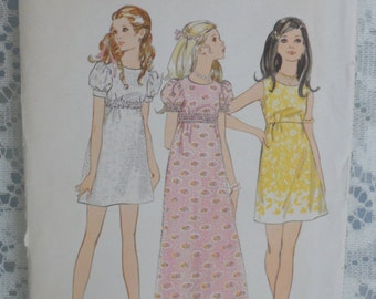 Butterick Pattern 1960's Maxi Dress Mini Dress Empire Waist Young Teens Dress Pattern 5778 Size 15/16