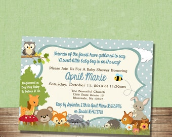 printable forest themed baby shower invitation woodland baby etsy