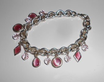 Vintage Charm bracelet pink stones and pink crystal glass beads chunky links  Free USA Shipping