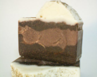 Choclate Mousse Cake,  exfoliating face and body, triple butter soap bar