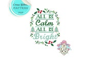 All is calm, all is bright. Christmas Cross Stitch Pattern. Silent Night. Christmas Carol Typography Cross Stitch Pattern.
