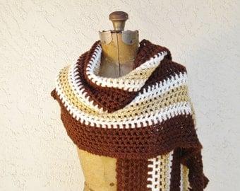 Vintage Crochet Shawl Brown Gold Cream, Long Crochet Wrap, Soft Wrap in Warm Earth Tones, Vintage Wrap, Lightweight Shawl, Lighweight Wrap