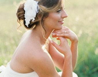 Beaded Bridal Floral Headpiece. Wedding Lace Flower Hair Piece.