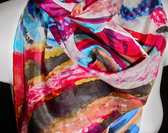 """Jazz Beats SILK SCARF. Hand Painted Silk Scarf by NYC  artist Joan Reese/ 30""""x30"""" /One of a kind/100% Silk/""""One of a kind"""""""
