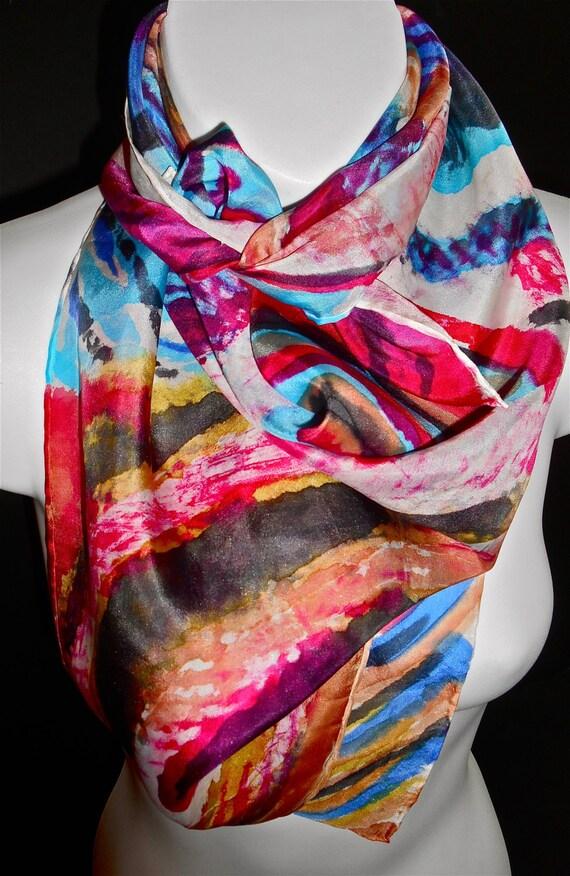 jazz beats silk scarf painted silk scarf by nyc artist
