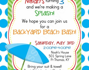 Birthday Beach Bash, Let's Make a Splash Kid's Party - 5x7 Printable Invitation